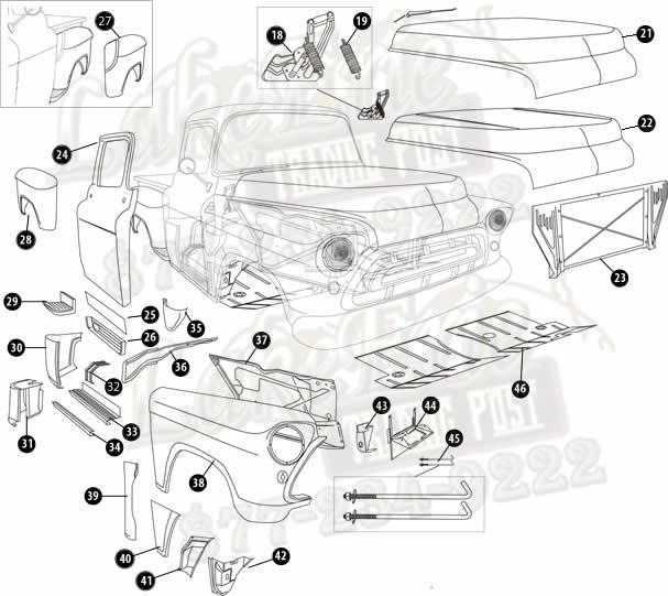 55 59 Second Series Chevrolet Pickup Rust Repair Panels